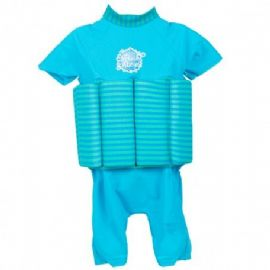UV Sun Protection Float Suit Turquoise Blue Lagoon Stripe